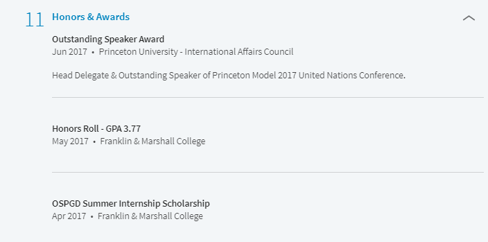 Honors & Awards section on LinkedIn